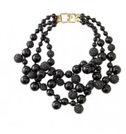 Black pave bead cluster necklace
