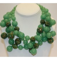 Green Pave bead cluster necklace
