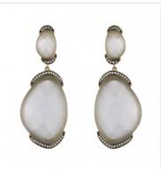 18k Cats Eye & CZ Double stone earrings
