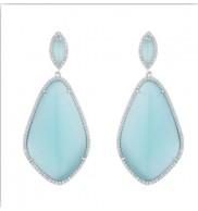 Sterling Silver Blue Cats eye earrings