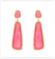 18k gold plated Pink Chalcedonay Drop earrings