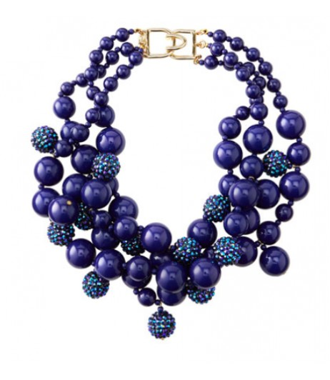 Pave bead cluster necklace in Blue