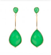 18K Gold plated Chrysoprase dangling earrings