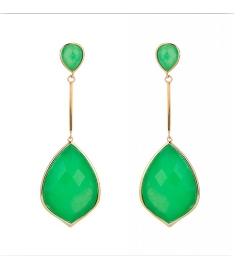 18K Gold plated Chrysoprase dangling earrings